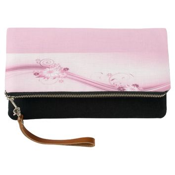 Pink Flowers n Waves Clutch
