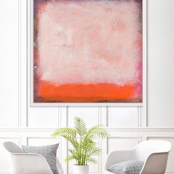 Orange abstract modern art, geometric abstract painting Large Abstract Painting Canvas Minimal orange Birthday Gifts For Men Gift For Her