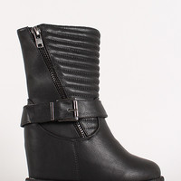 Slant Zip Quilted Mid Calf Wedge Boot
