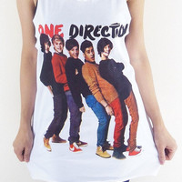 One Direction Shirt -- One Pocket Shirt 1D Shirt Women Tank Top Unisex Shirt Tunic Top Sleeveless Singlet Shirt One Direction T-Shirt Size L