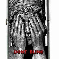 "Dr Who Weeping Angel ""Dont Blink"" on a Flip Top Lighter and Metal Gift Box"