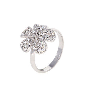Dear Deer White Gold Plated CZ Pave Flower Floral Cocktail Ring