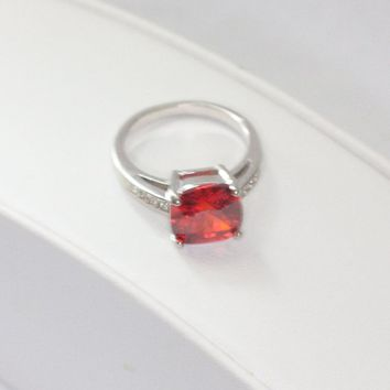Orange Faceted Glass Ring Clear Crystals Silver Tone Size 7 1/4 Vintage