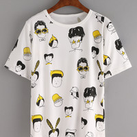 Cartoon Portrait Print T-shirt - White
