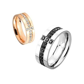 Glorious Love - Couples Eternity CZ Cross Stainless Steel Ring