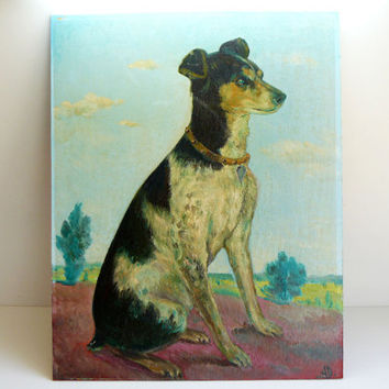 mid century SPANISH dog signed oil painting by artyfactz on Etsy