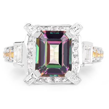 A Perfect 5.62CT Emerald Cut Genuine Mystic Fire Topaz, Citrine and White Topaz Platinum Ring