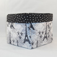 Black and Gray Paris and Fleur-de-Lis Patterned Fabric Basket for Storage Or Gift Giving