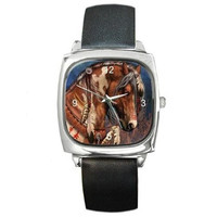 Indian Pony/ Horse on a Silver Square Watch with Leather Band