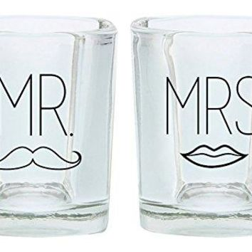 Wedding Gift Shot Glasses Mr Mustache and Mrs Lips Funny Wedding Gift for Newlyweds Couples Gift Shot Glasses 2Pack Round Shot Glass Set Black