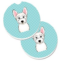 Checkerboard Blue Westie Set of 2 Cup Holder Car Coasters BB1164CARC