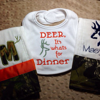 Deer hunting, Baby Shower gift set, custom colors, handmade with licenced mossy oak camo trim.