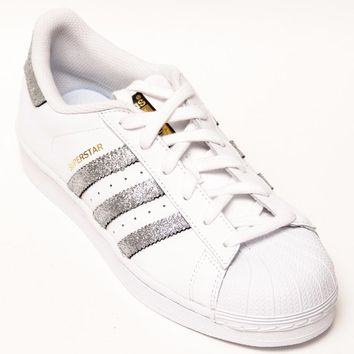 Custom Hand Glittered Silver Adidas Superstars II Sneakers