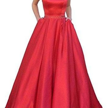 Womens  Halter A-Line Beaded Satin Evening Dress Long Formal Gown With Pockets Size 6 Red