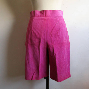 Pink Danier Suede Shorts NOS 80s Vintage Leather 1980s Womens Slim Short Pants 12