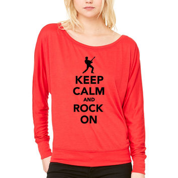 Keep calm and Rock on WOMEN'S FLOWY LONG SLEEVE OFF SHOULDER TEE
