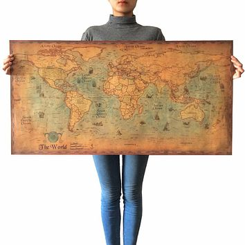Vintage Kraft Paper Poster World Map Painting Retro Living Room Wall Sticker Art Crafts Cafe Bar Decor large size world maps
