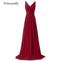 Long Wine Red Bridesmaid Dress Floor Length V neck Sleeveless Bridesmaid Prom Party Gown Vestido De Festa Longo Formal Dresses