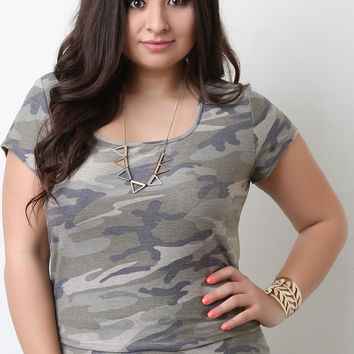 Camouflage Terry Knit Crop Top