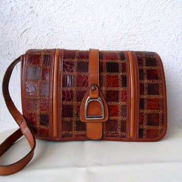 Cognac brown genuine leather purse, vintage 80s reptile skine clutch, French crocodile patchwork shoulder bag, small real leather pouch