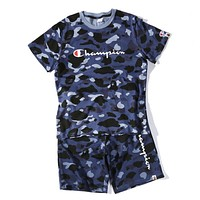 Bape X Champion Women Men Trending Casual Camouflage Print Short Sleeve Top Shorts Pants Sweatpants Set Two-Piece Sportswear Blue