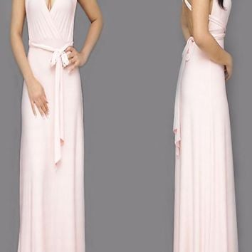 Pink Plain Cross Back Sashes Multi Way Cocktail Party Maxi Dress