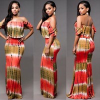 Summer Holiday Hot Sale Women Sexy Boho Off Shoulder Contrast Color Long Maxi Dress Printed Ladies Beach Party Sun Dress