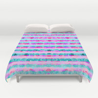 Painted Purple Party Stripes - with pink, teal, mint & aqua Duvet Cover by TigaTiga Artworks