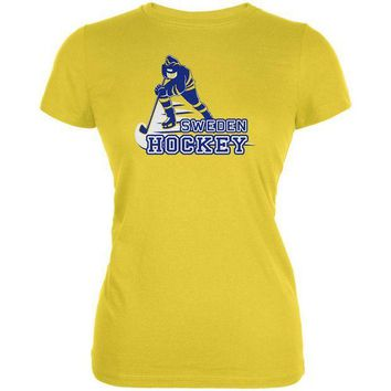 VONE05Y Fast Hockey Player Country Sweden Juniors Soft T Shirt