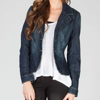 Ymi Womens Denim Blazer Dark Denim  In Sizes
