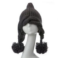 ZLYC New Women's Fashion Braid Warm Knit Beanie with Ball of Yarn Knitted Hat Cap