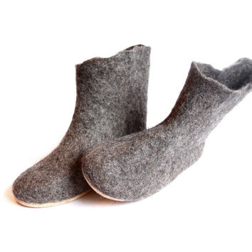 Wool Boot Organic Wool Valenki, Ankle Booties,  Felt Slippers, Organic Brown, Cork Soles Rubber Soles, Eco Friendly Minimalist Shoes -5% off