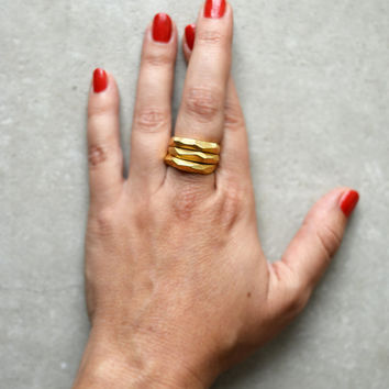 Christmas in july, faceted gold plated ring, hand made, stacking, statement ring, geometric, wedding ,engagement ring, modern, raw, bride