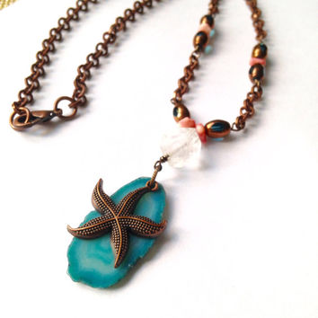 Blue Agate Necklace, with Starfish Pendant and Natural Quartz, Genuine Pink Coral, Blue Czech Beads and  Round Copper Chain, Handmade