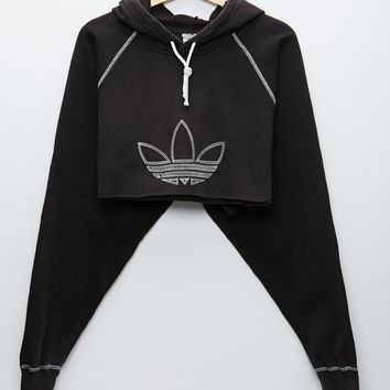 Retro Gold Adidas Cropped Pullover Hoodie - Womens Hoodie - Black - One