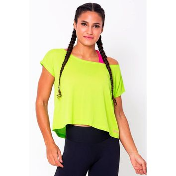 Lime Loose Cropped Tops