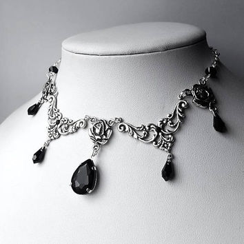 Gothic Black Drops Eve Pendant Necklace