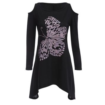 Scoop Collar Long Sleeve Cut Off Butterfly Print Asymmetrical T-Shirt for Ladies