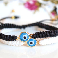 Evil eye bracelets, stacking bracelet, set of 2 friendship bracelet, couples bracelets, for her, for him, black and white , b&w macrame
