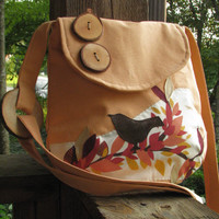 SALE FREE SHIPPING Small Birds, Trees, and Leaves shoulder bag with adjustable strap in Pumpkin