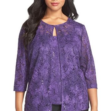 Plus Size Women's Alex Evenings Sequin Lace Twinset ,