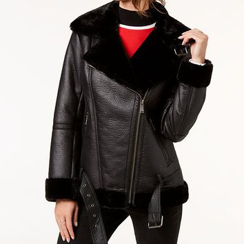 BCBGeneration Faux-Fur-Trim Moto Jacket & Reviews - Coats - Women - Macy's