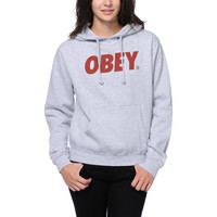 Obey Girls Font Heather Grey Pullover Hoodie at Zumiez : PDP