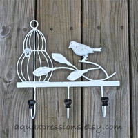 Metal Wall Hook /White Bird Cage /Shabby Chic Home Decor /Tree Branch /Whimsical Bathroom Hanger /Key Holder /Mud Room Rack /Nursery