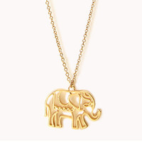 FOREVER 21 Cutout Elephant Necklace Gold One
