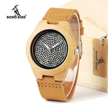 BOBO BIRD A11 Unisex Mens Watches Top Brand Luxury Diamond Inside With Genuine Cow Leather Strap Quartz Analog Wood Watch