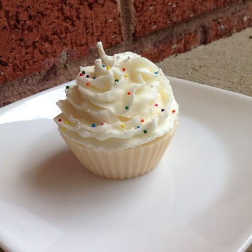 Birthday Cake Soy Cupcake Scented Candle, Dessert Candle, Bakery Candle, Food Candle, Party Favors