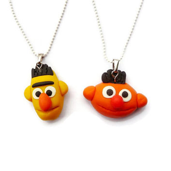 Ernie and Bert BFF Necklace, Best friends necklace, friendship necklace set, Sesame Street necklace