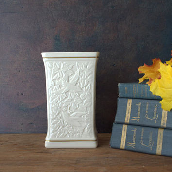 Lenox Ivory and Gold Embossed Ceramic Vase Unique Design