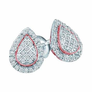 10kt White Gold Women's Round Diamond Rose-tone Teardrop Cluster Screwback Earrings 1-5 Cttw - FREE Shipping (USA/CAN)